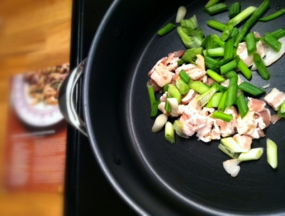 bacon and scallions
