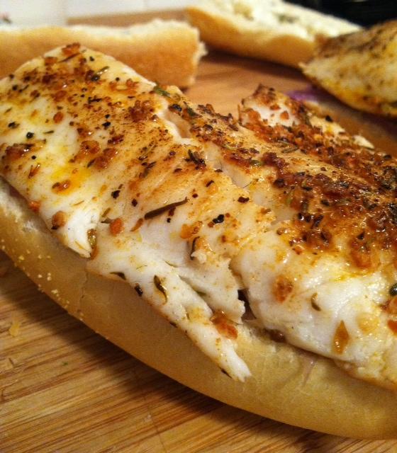 fish on bread