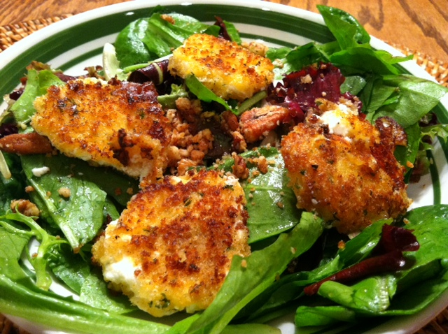 Fried Goat Cheese Salad with Fig Jam Vinaigrette | The Hungry Apple